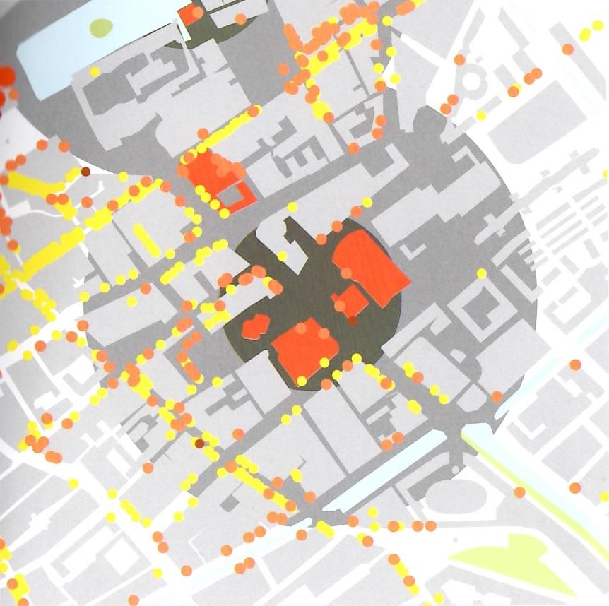 Interactiemilieu Spuipleincluster. Kaart uit Maurits de Hoog, De Hollandse metropool blz 55
