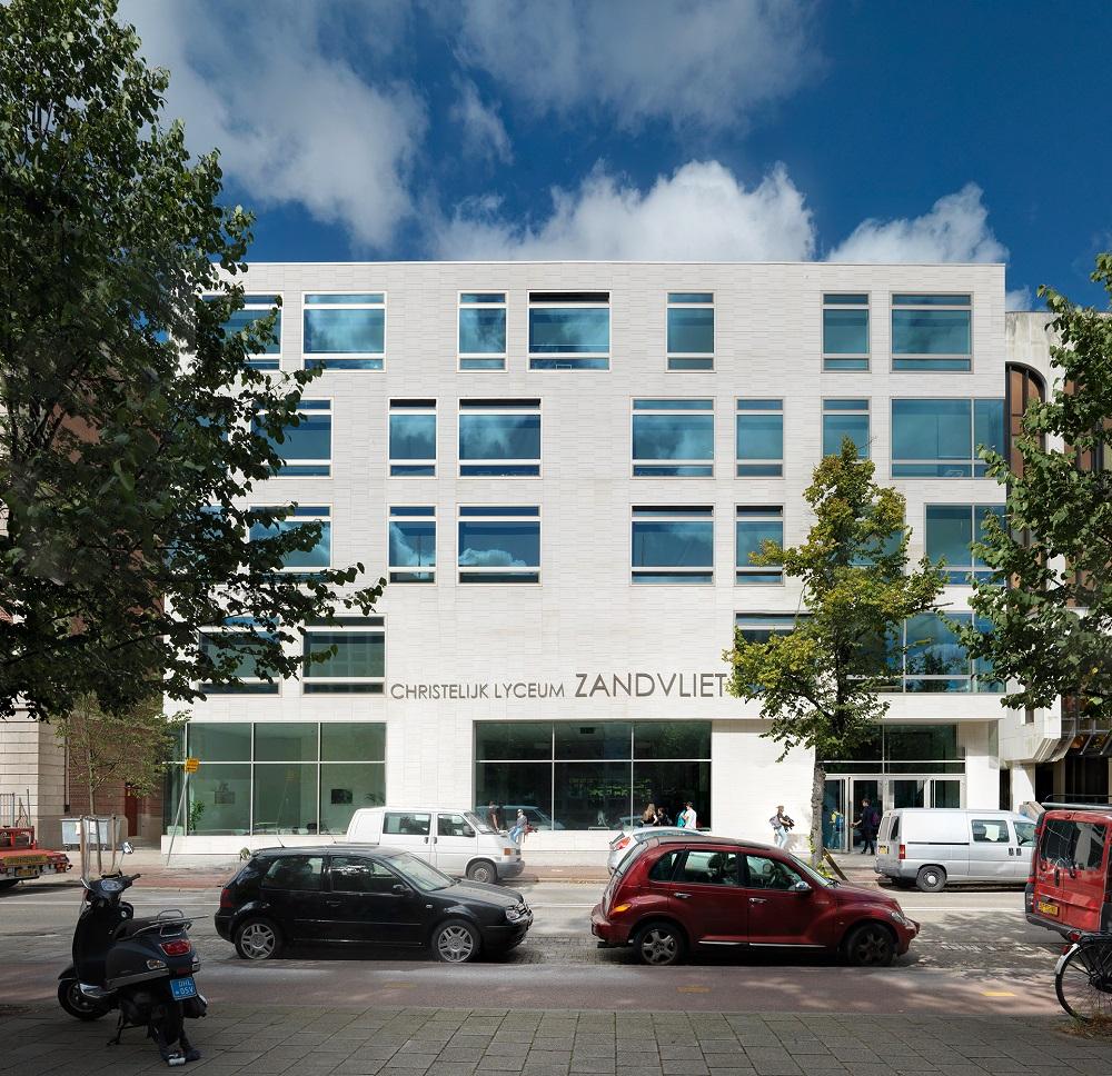 Voorgevel lyceum zandvliet, ontwerp DP6 architectuurstudio